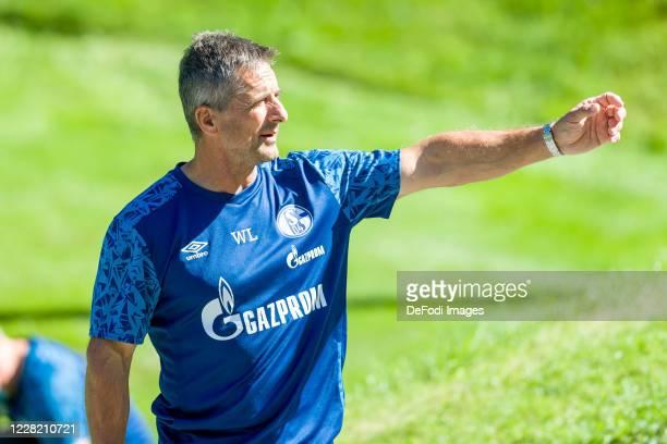 Athletic coach Werner Leuthard of FC Schalke 04 gestures during the FC Schalke 04 Training Camp on August 26, 2020 in Laengenfeld, Austria.