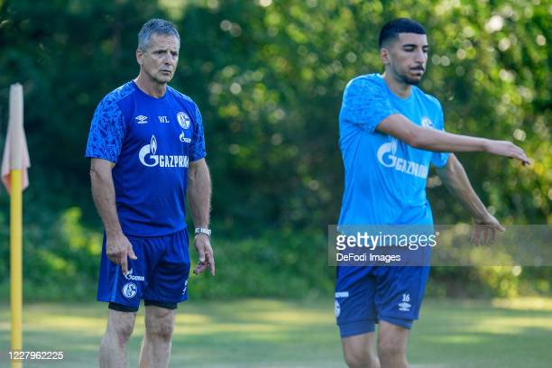 Athletic coach Werner Leuthard of FC Schalke 04 looks on during the FC Schalke 04 training session on August 08, 2020 in Herzlake, Germany.