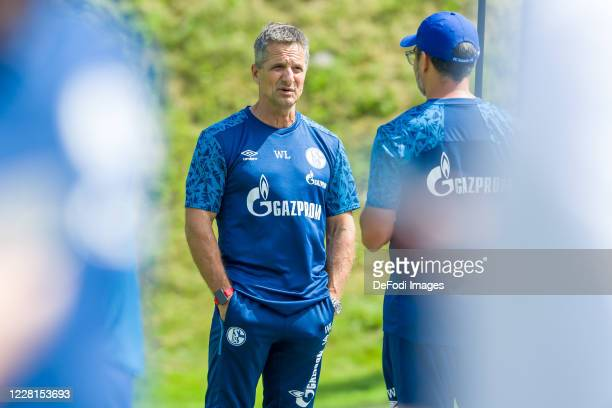 Athletic coach Werner Leuthard of FC Schalke 04 looks on during the FC Schalke 04 Training Camp on August 22, 2020 in Laengenfeld, Austria.