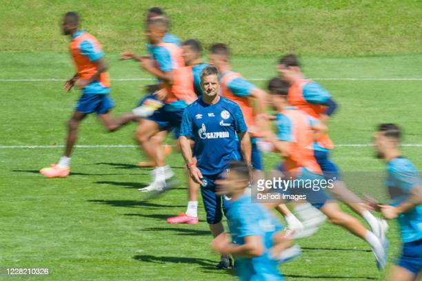 Athletic coach Werner Leuthard of FC Schalke 04 looks on during the FC Schalke 04 Training Camp on August 26, 2020 in Laengenfeld, Austria.