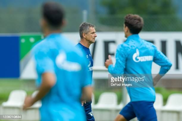 Athletic coach Werner Leuthard of FC Schalke 04 looks on during the FC Schalke 04 Training Camp on August 23, 2020 in Laengenfeld, Austria.
