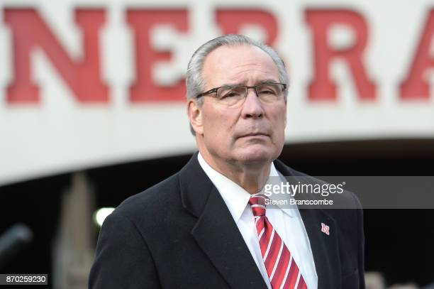 Athletic Director Bill Moos of the Nebraska Cornhuskers watches action against the Northwestern Wildcats at Memorial Stadium on November 4 2017 in...