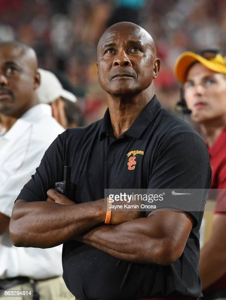 Athletic director Lynn Swann of the USC Trojans stands on the sidelines during the game against the Utah Utes at the Los Angeles Memorial Coliseum on...