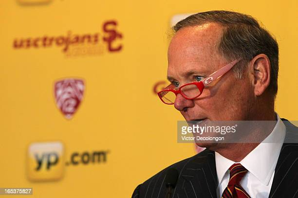 Athletic Director Pat Haden addresses the audience during the press conference to introduce Andy Enfield as USC's new basketball head coach on April...