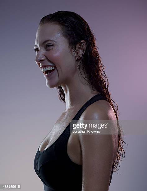 athletic female after workout, laughing - extra long stock pictures, royalty-free photos & images