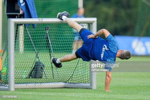 Athletic head coach Werner Leuthard of FC Schalke 04 looks on during the FC Schalke 04 training session on August 08, 2020 in Herzlake, Germany.