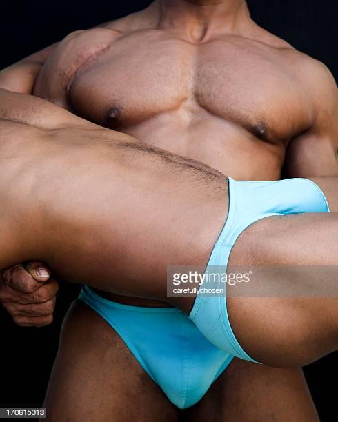 athletic männliche torsos von zwei - hodensack stock-fotos und bilder