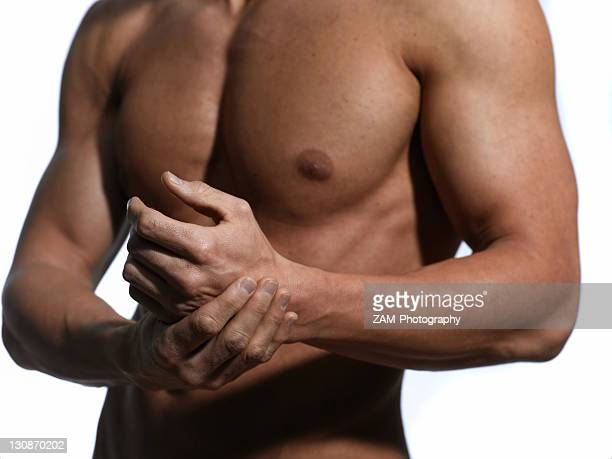 Athletic man, chest, hands
