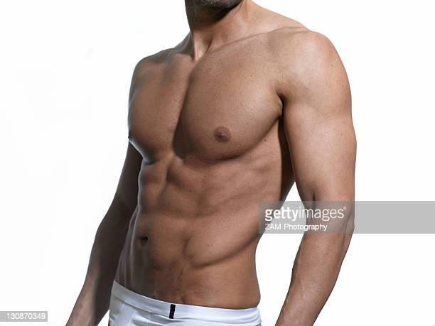 Athletic man, front, chest, abdomen