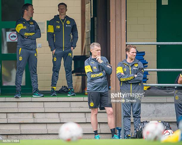 Athletic Trainer Andreas Beck CoTrainer Florian Wangler Physical therapist Peter Kuhnt and Physio Thorben Voeste of Borussia Dortmund during day 3 of...