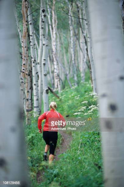 Athletic Woman Trail Running in the Aspens