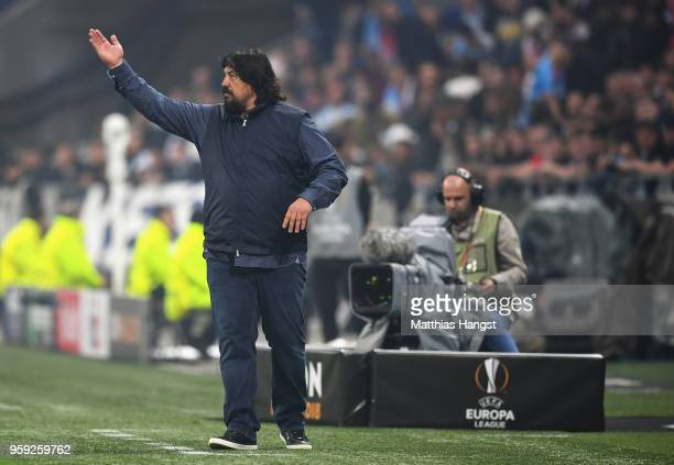 Athletico Madrid Assistant Coach German Burgos gives instructions during the UEFA Europa League Final between Olympique de Marseille and Club...