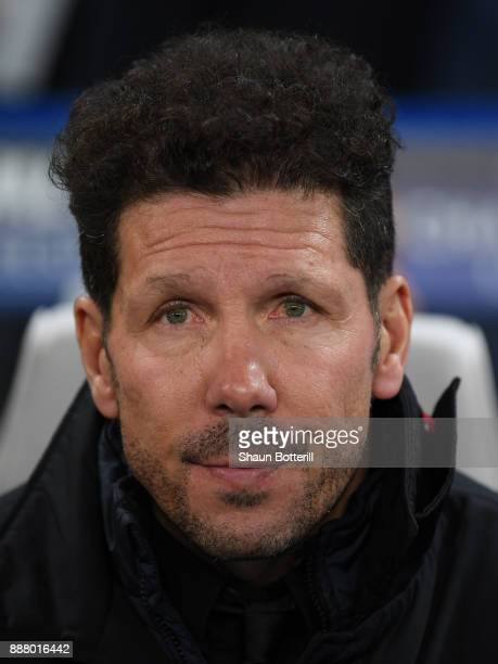 Athletico Madrid coach Diego Simeone before the UEFA Champions League group C match between Chelsea FC and Atletico Madrid at Stamford Bridge on...