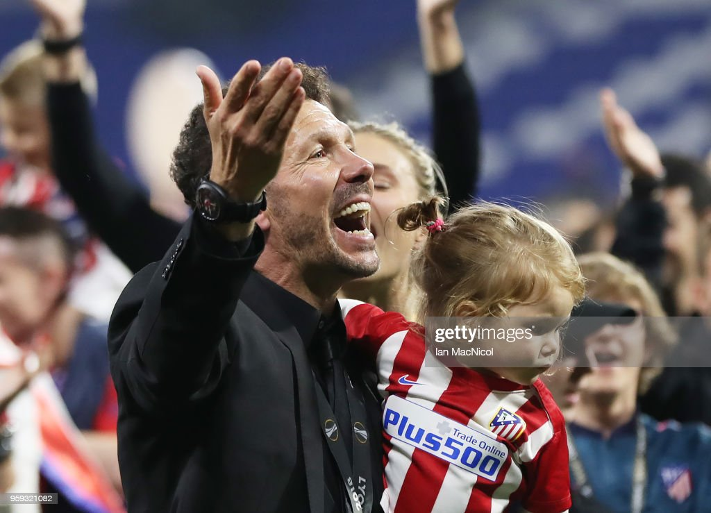 Athletico Madrid manager Diego Simeone is seen during the UEFA Europa League Final between Olympique de Marseille and Club Atletico de Madrid at Stade de Lyon on May 16, 2018 in Lyon, France.