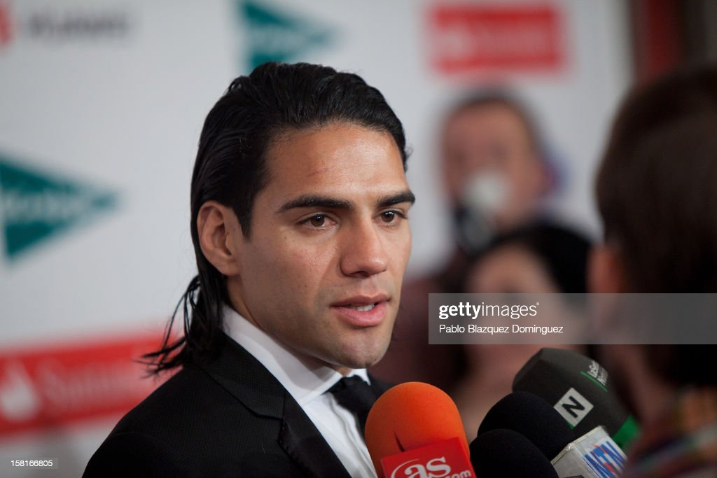 Athletico Madrid's football player Radamel Falcao speaks to press during 'As Del Deporte' Awards 2012 at The Westin Palace Hotel on December 10, 2012 in Madrid, Spain.