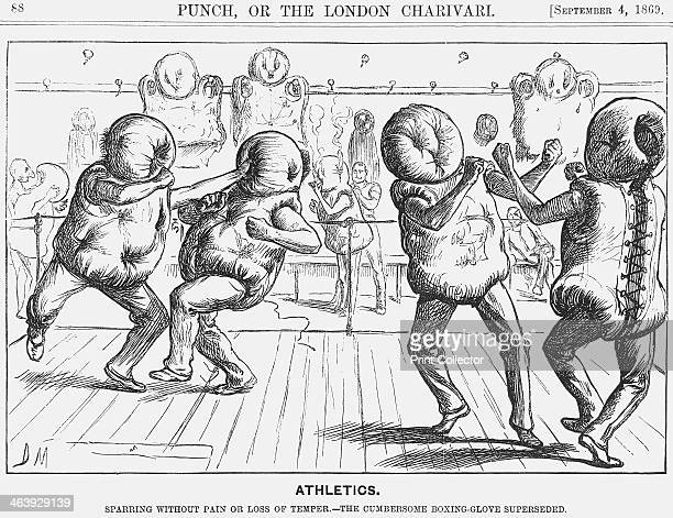 'Athletics' 1869 Then as now boxing was a dangerous sport and in this cartoon Punch offers advice on a means of increasing its safety From Punch or...