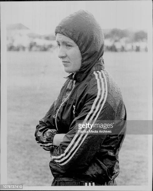 Athletics at the Farewell to the Olympians meeting at Hensley Field, Pagewood today.Barbara Jordan in the rain. June 20, 1976. .