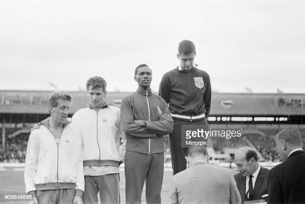 Athletics at White City, London, Saturday 12th August 1967. Our picture shows on the podium, Jim Ryun of USA wins the mile with Kipchoge Keino of...