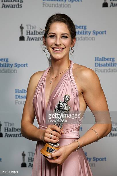 Athletics athlete Eliza McCartney wins the Emerging Talent Award during the 2016 Halberg Awards at Vector Arena on February 18 2016 in Auckland New...
