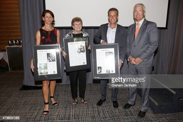 Athletics Australia Hall of Fame inductees Louise Curry Norma Thrower and Gary Honey pose during the John Landy Lunch at Federation Square on March...