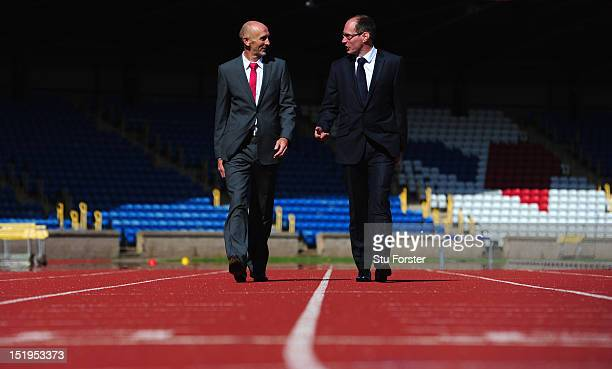 Athletics Chief Executive Niels de Vos and new performance director Neil Black face the press at the UK press conference at Alexander Stadium on...