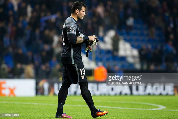 Athletic's goalkeeper Iago Herrerin reacts after the Europa league group football match between RC Genk and Athletic Bilbao in Genk on October 20...