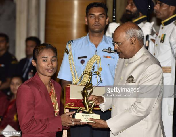 Athletics Hima Das receives Arjuna Award 2018 for his achievements in Athletics from President Ramnath Kovind during the National Sports and...