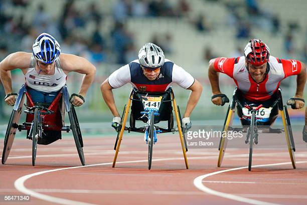 Athletics in action during the Paralympics mens wheelchair race on September 19 2004 in Athen Greece
