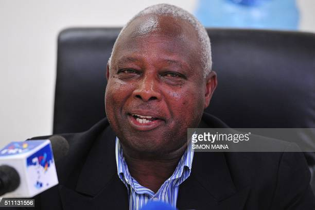 Athletics Kenya acting president Jackson Tuwei speaks to the media on February 18 2016 at the Kasarani stadium in Nairobi where he shrugged off...