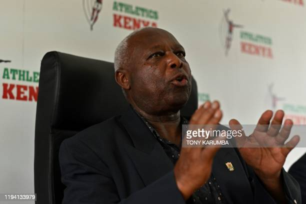 Athletics Kenya President Jackson Tuwei gives a press conference on January 17 2020 at the Riadha House the AK's headquarters in Nairobi Athletics...