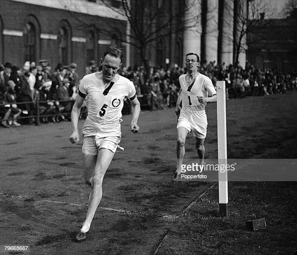Athletics, London, England, 21st April Lieutenant H,B, Stallard, the Olympic runner and many times champion of England, pictured winning the...