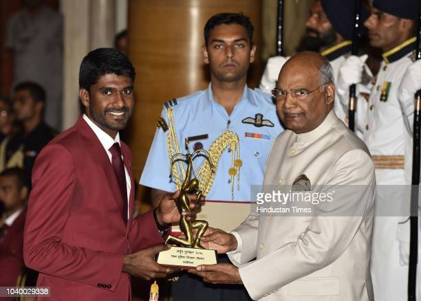 Athletics Naib Subedar Jinson Johnson receives Arjuna Award 2018 for his achievements in Athletics from President Ramnath Kovind during the National...