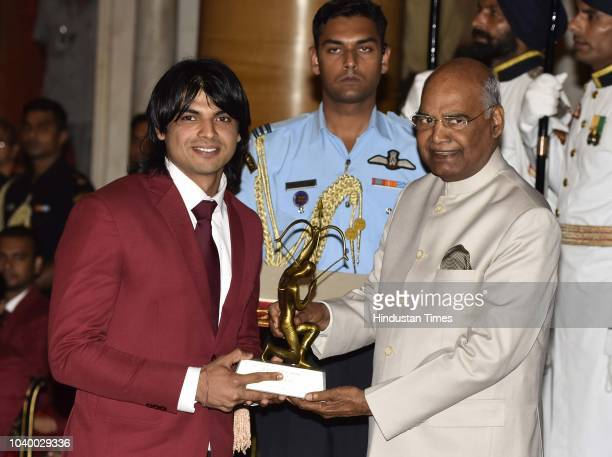 Athletics Neeraj Chopra receives Arjuna Award 2018 for his achievements in Athletics from President Ramnath Kovind during the National Sports and...