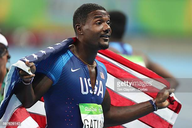 Day 9 Justin Gatlin of the United States celebrates after winning the silver medal in the Men's 100m Final at the Olympic Stadium on August 14 2016...