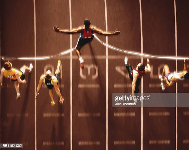 athletics, runners at finish line, overhead view (digital composite) - finish line stock pictures, royalty-free photos & images