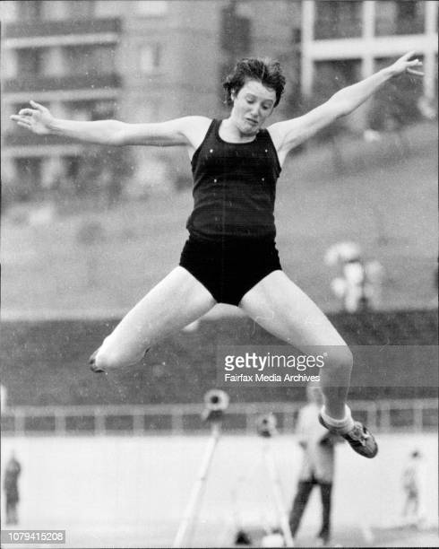 Athletics Sydney Athletics FieldAmanda Thomas of Belmont High Newcastle competing in the long jump October 18 1981