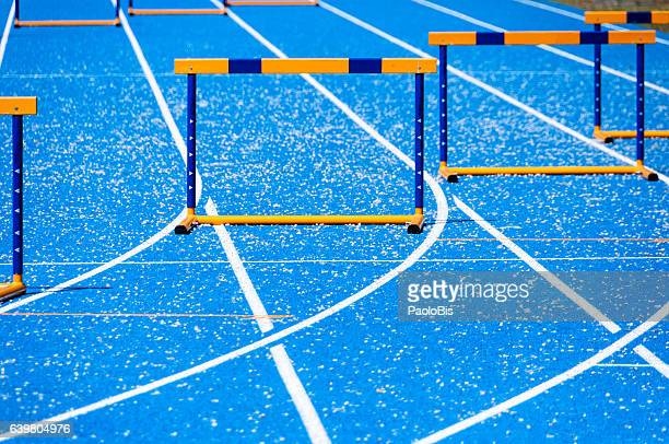 Athletics track with obstacles