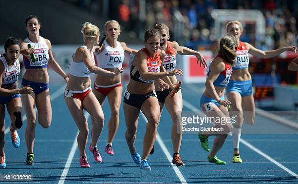 Athlets compete in the Women's 4x400m Relay during second day of the European Athletics Team Championship at Eintracht Stadion on June 22 2014 in...