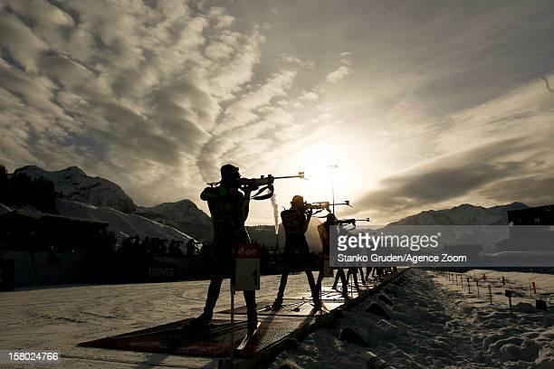 Athlets during the IBU Biathlon World Cup Women's Relay on December 09 2012 in Hochfilzen Austria
