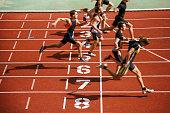Athlets sprinting at finish line