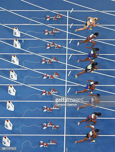 Athlets start the Women's 100m Hurdles Final on Day 12 of the Rio 2016 Olympic Games at the Olympic Stadium on August 17 2016 in Rio de Janeiro Brazil