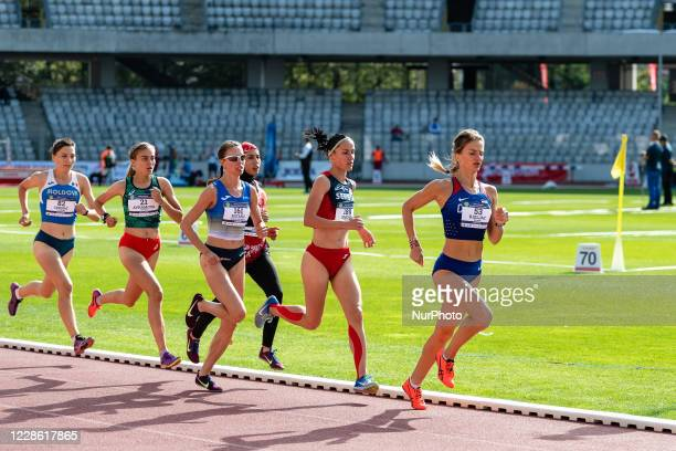 Athletses runing the Women's 3000m Final during the Balkan Senior Athletics Championships, at Cluj Arena, Cluj-Napoca, Romania, 19 September 2020