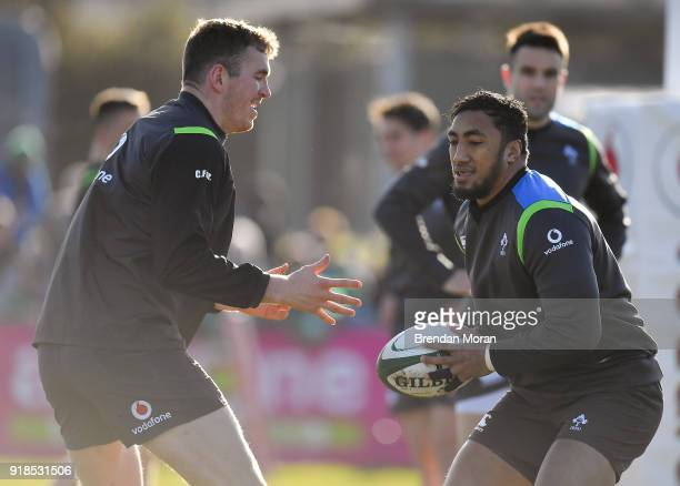 Athlone Ireland 15 February 2018 Chris Farrell left and Bundee Aki during Ireland Rugby squad training at Buccaneers RFC Dubarry Park Athlone...