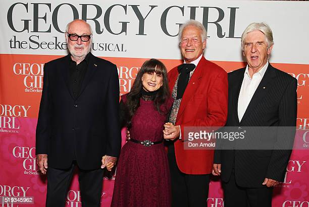 Athol Guy, Judith Durham, Keith Potger and Bruce Woodley of The Seekers pose during Georgie Girl The Seekers Musical Opening Night at State Theatre...