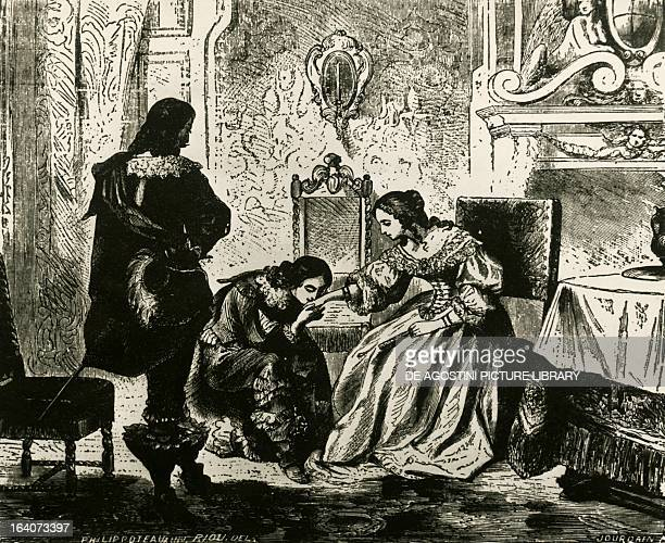 Athos the Vicomte de Bragelonne and Madame de Chevreuse illustration for Chapter XXII of Twenty years after by Alexandre Dumas Milan Biblioteca...