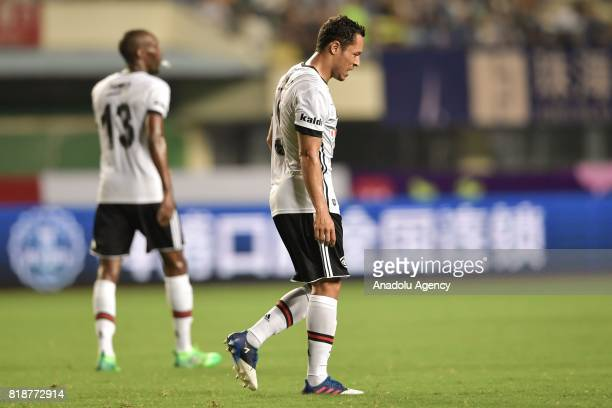 Atiba Hutchinson and Adriano of Besiktas are seen during the International Champions Cup match between Schalke 04 and Besiktas at Zhuhai Sports...