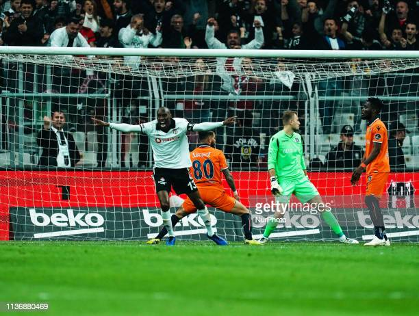 Atiba Hutchinson of Besiktas celebrating Burak Yilmaz of Besiktas goal to 21 in the 52th minute during Besiktas JK v stanbul Basaksehir Turkish Super...