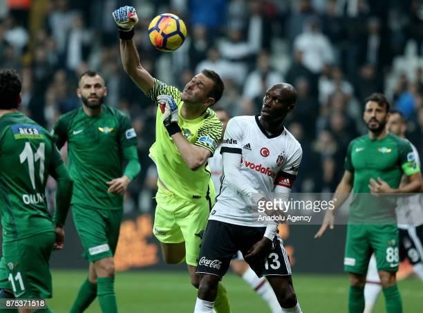 Atiba Hutchinson of Besiktas vies for the ball during a Turkish Super Lig soccer match between Besiktas and Teleset Mobilya Akhisarspor at Vodafone...
