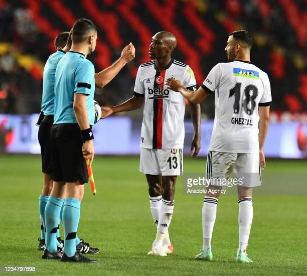 Atiba of Besiktas talks with referee during Turkish Super Lig soccer match between Besiktas and Gaziantep at Kalyon Stadium in Gaziantep, Turkey on...