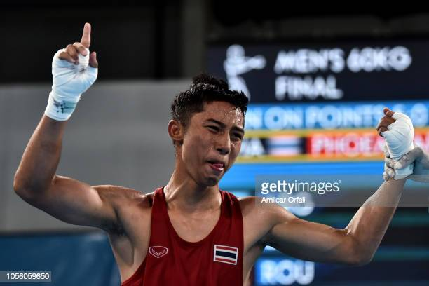 Atichai Phoemsap of Thailand celebrates his victory in Men's Light Gold Medal Bout during day 11 of Buenos Aires 2018 youth Olympic Games at Oceania...